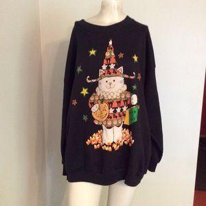 Vintage Cat Halloween Sweatshirt 1X 2X